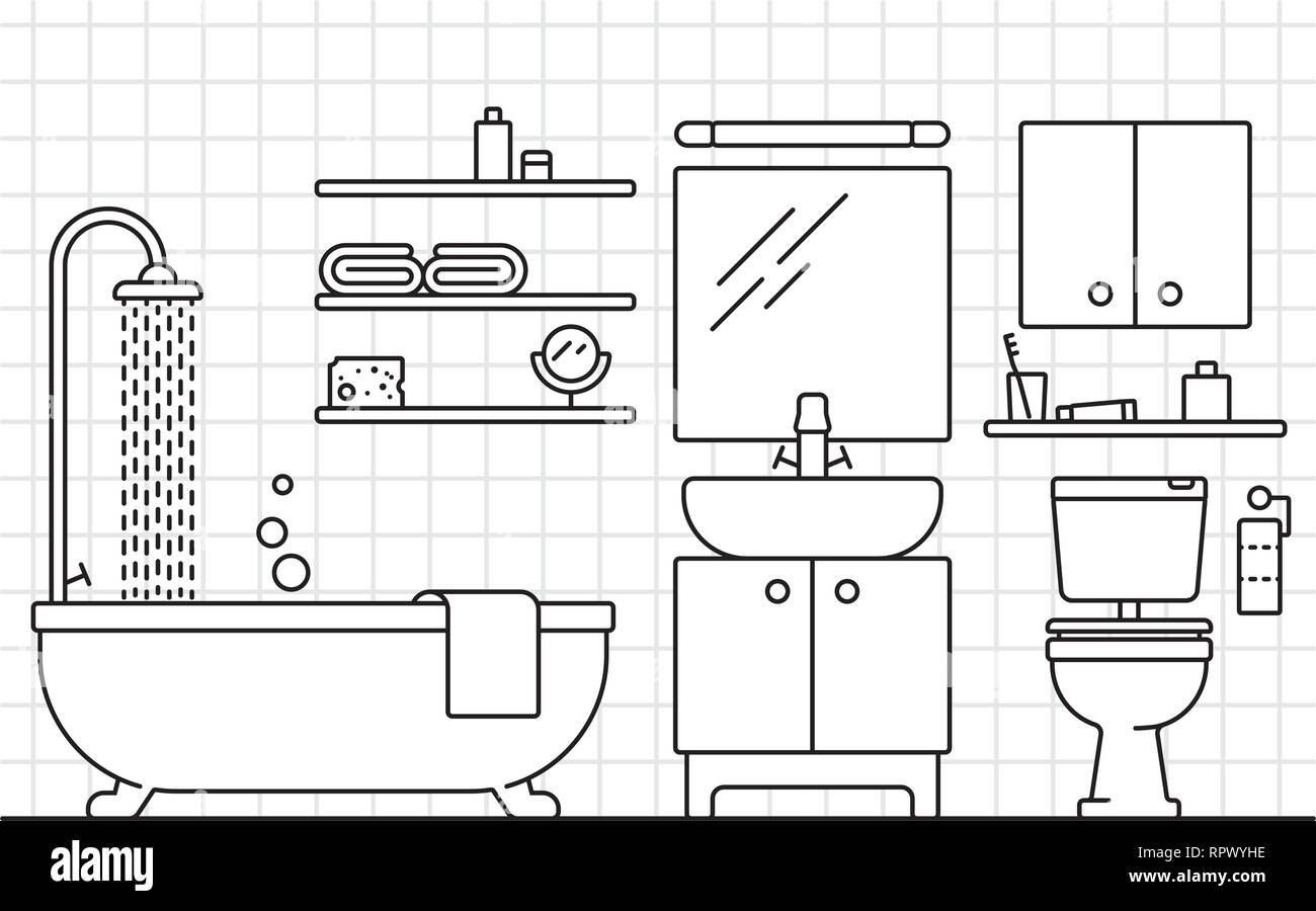 Bathroom interior line art vector illustration with tiled wall - Stock Vector
