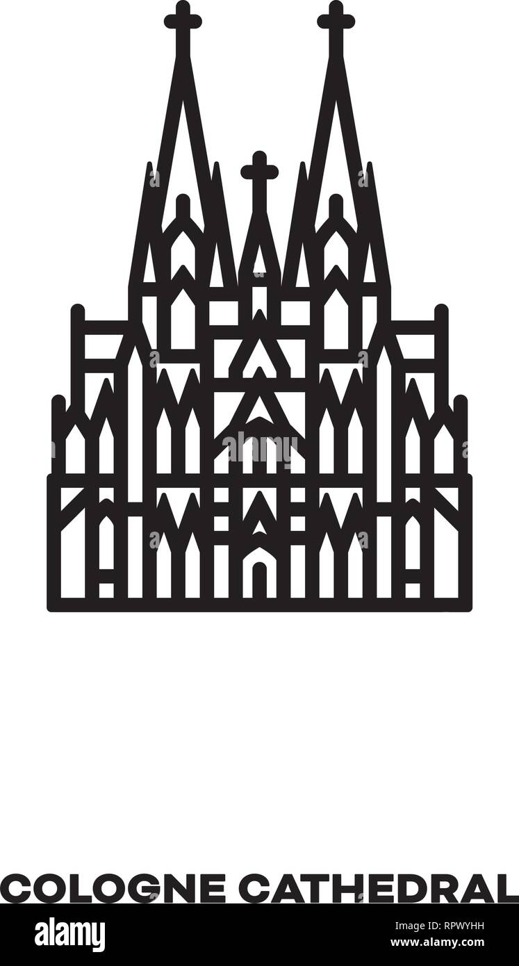 Cologne Cathedral Germany Vector Line Icon International Landmark And Tourism Symbol Stock Vector Image Art Alamy