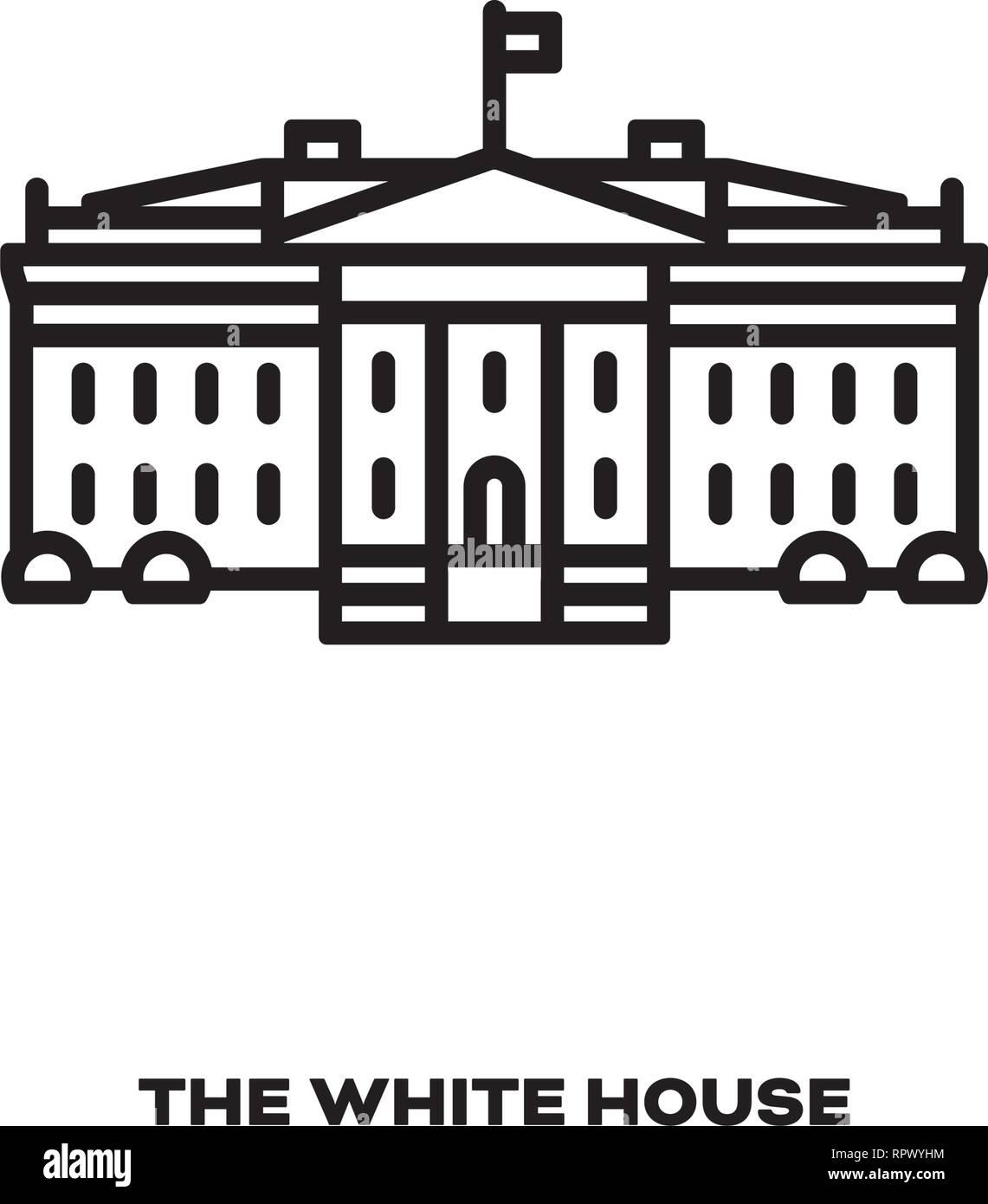 White House at Washington, United States, vector line icon. International landmark  symbol. - Stock Image