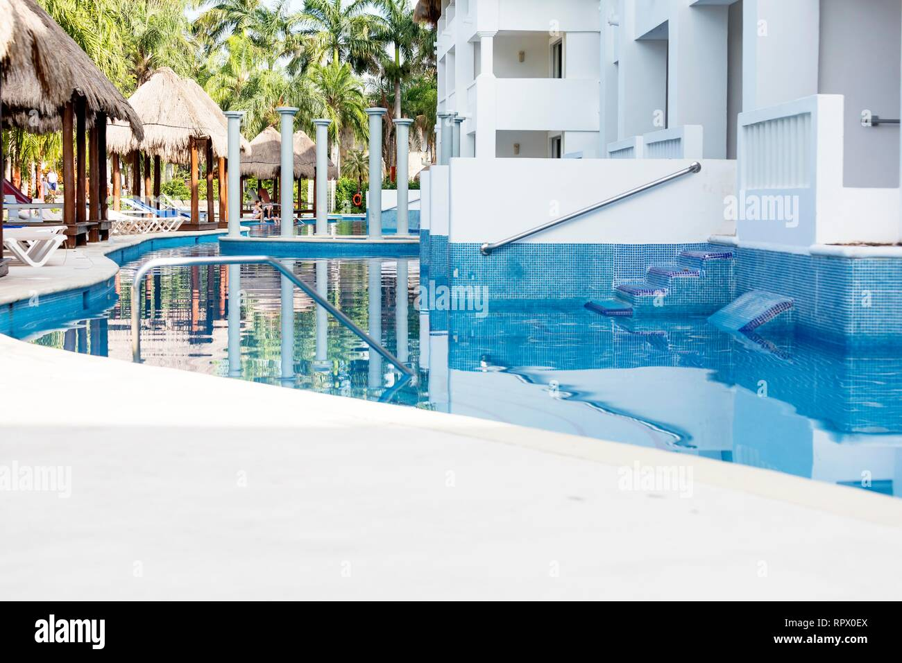 Grand Riviera Princess Hotel in Mexico Riviera Maya on 24th July 2018. Low down shot of this Caribbean All Inclusive Hotel exterior at sunset in the l - Stock Image