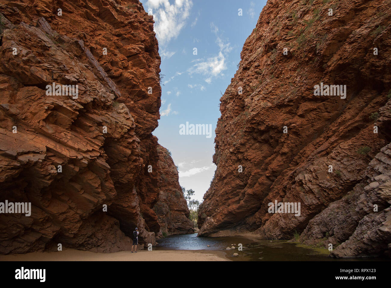 Simpsons Gap (Arrernte: Rungutjirpa) is one of the gaps in the West MacDonnell Ranges in Australia's Northern Territory. west of Alice Springs. - Stock Image