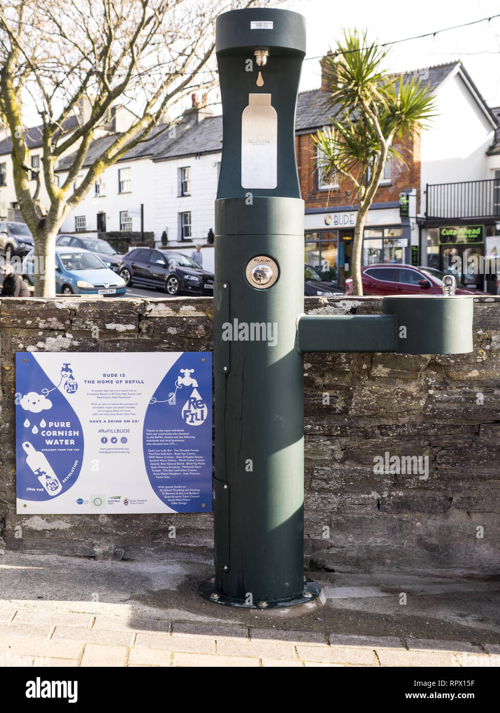 The refill water station in Bude to refill plastic water