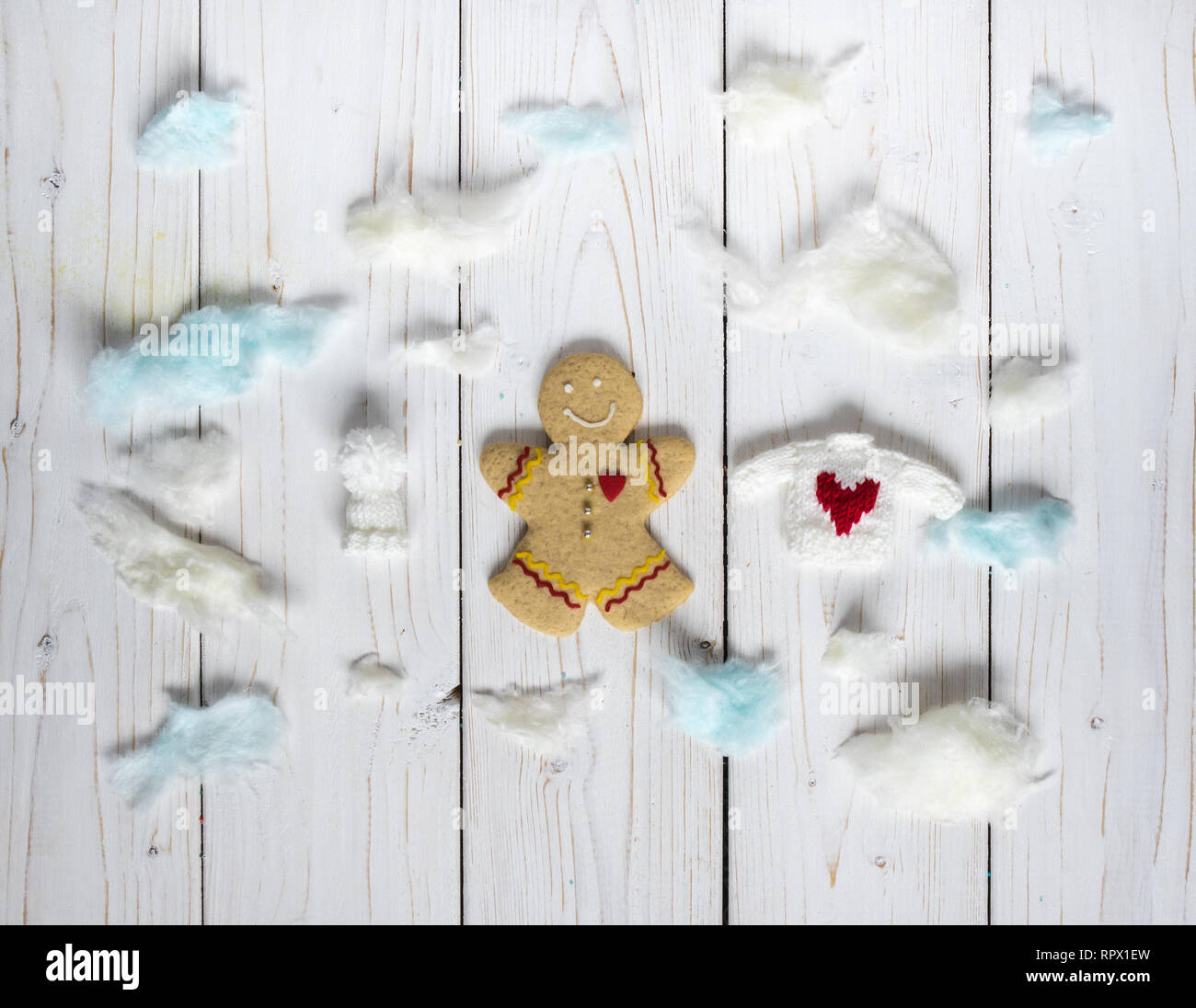 Gingerbread cookie men, on the white background - Stock Image