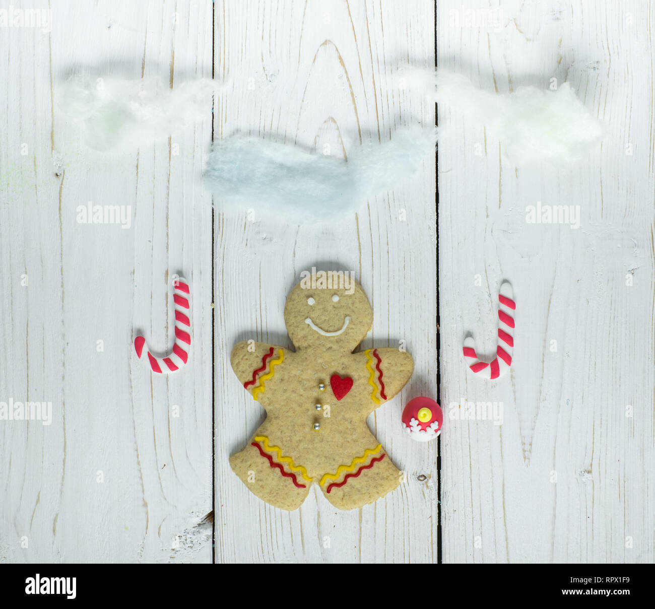 Gingerbread cookie man, on the white background - Stock Image