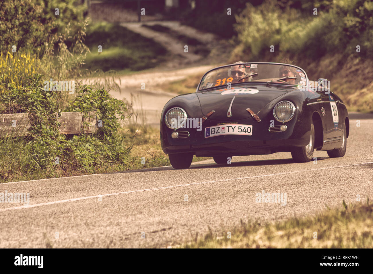 PORSCHE 356 1500 SPEEDSTER 1954 on an old racing car in rally Mille Miglia 2018 the famous italian historical race (1927-1957) - Stock Image
