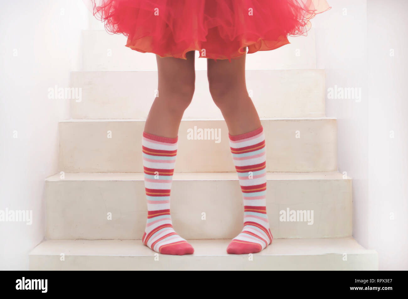 da8dfc45cd0 Girl standing on staircase wearing knee high socks and a tutu - Stock Image
