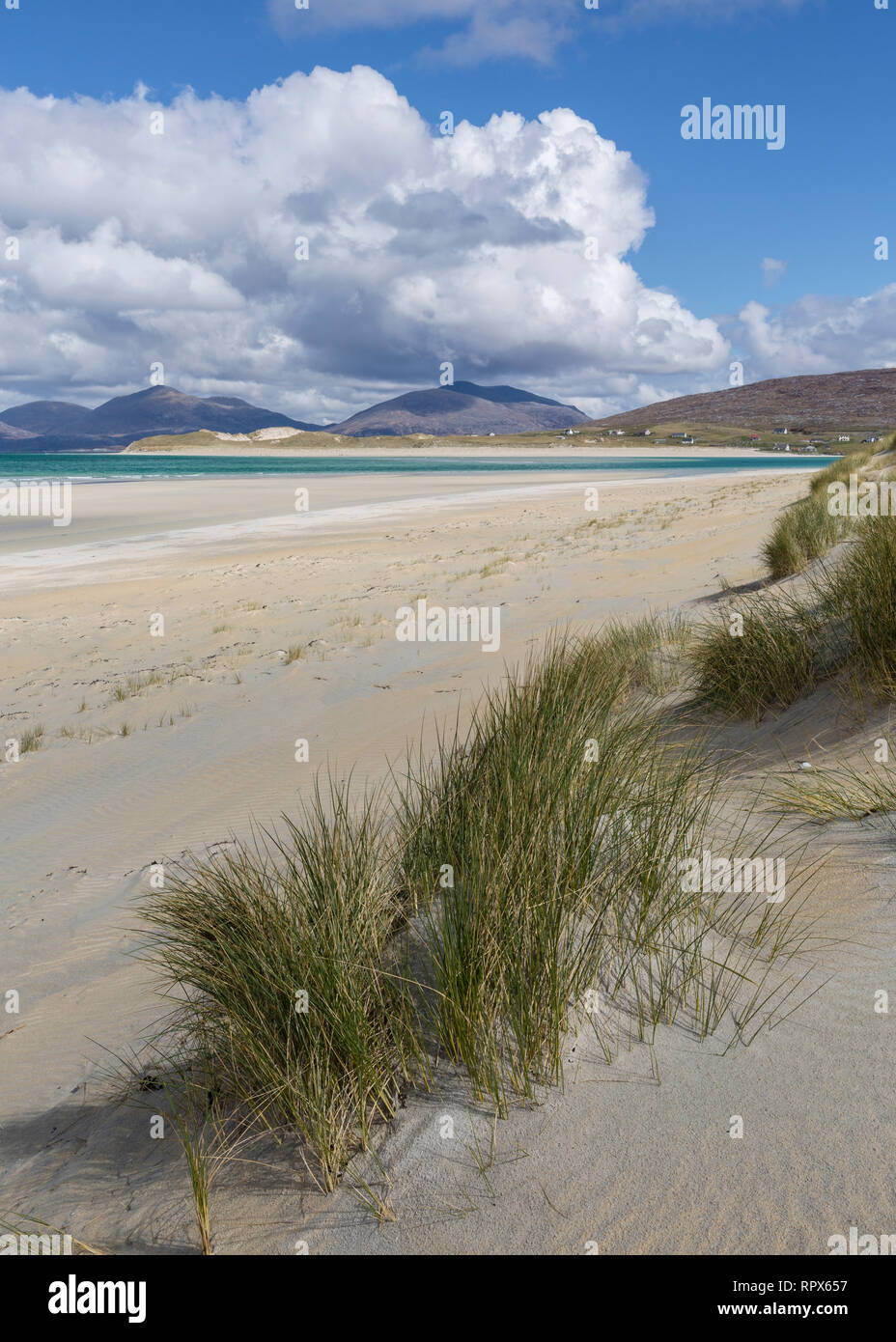 Looking towards Luskentyre from the dunes at Seilebost, Isle of Harris, Outer Hebrides, Scotland - Stock Image