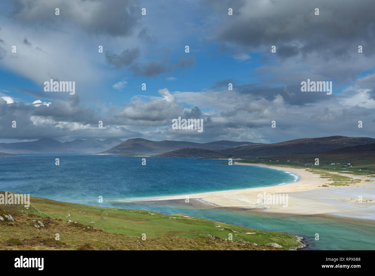 Scarasta beach from the slopes of Ceapabhal on the Isle of Harris, Outer Hebrides, Scotland - Stock Image
