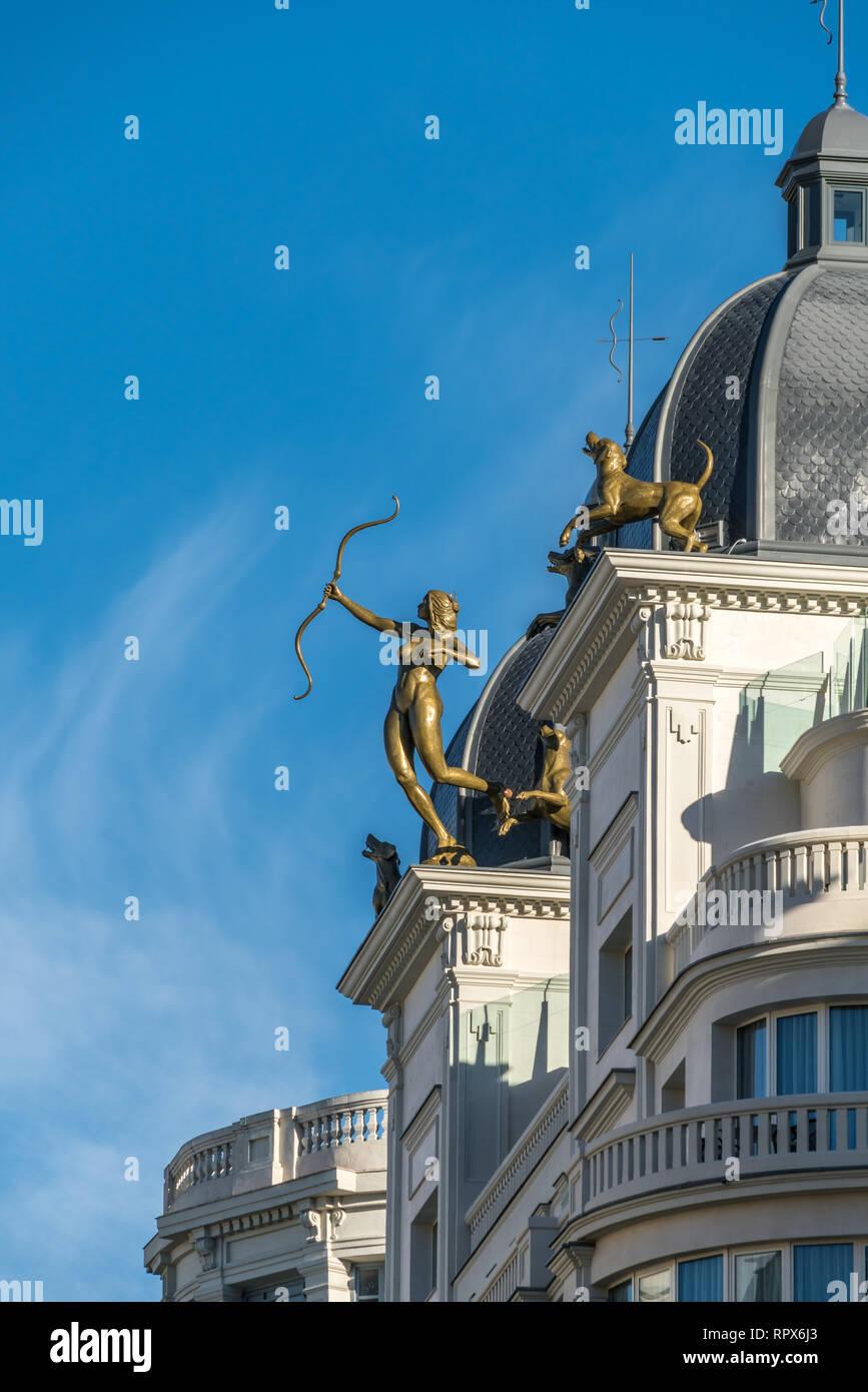 Madrid, Spain - February 20, 2018: Diana Cazadora Sculptural set by Natividad Sanchez on the roof of Hyatt Centric Gran Via Madrid Hotel. Stock Photo