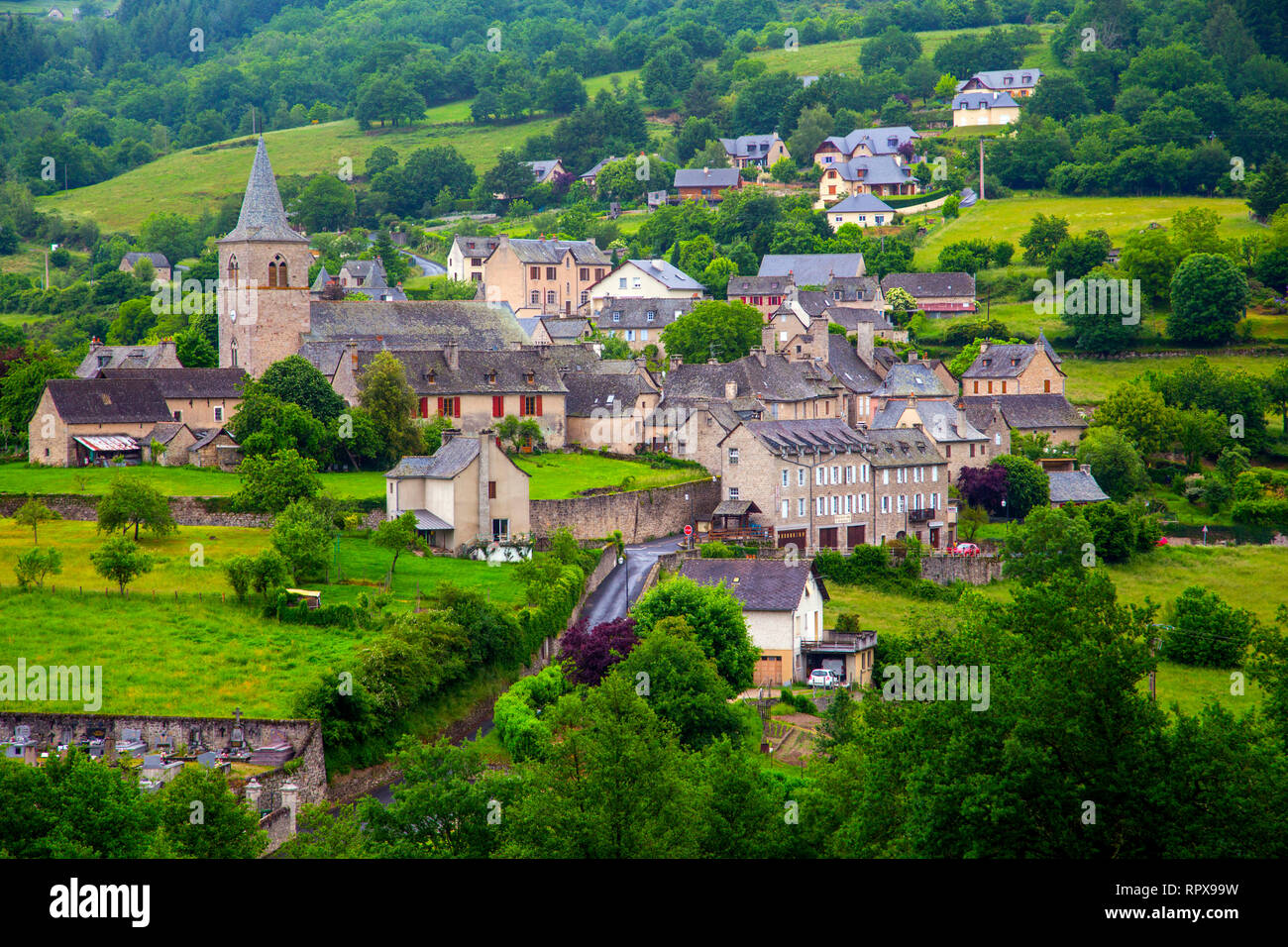 The village of Espeyrac in the Occitanie region of South-West France - Stock Image