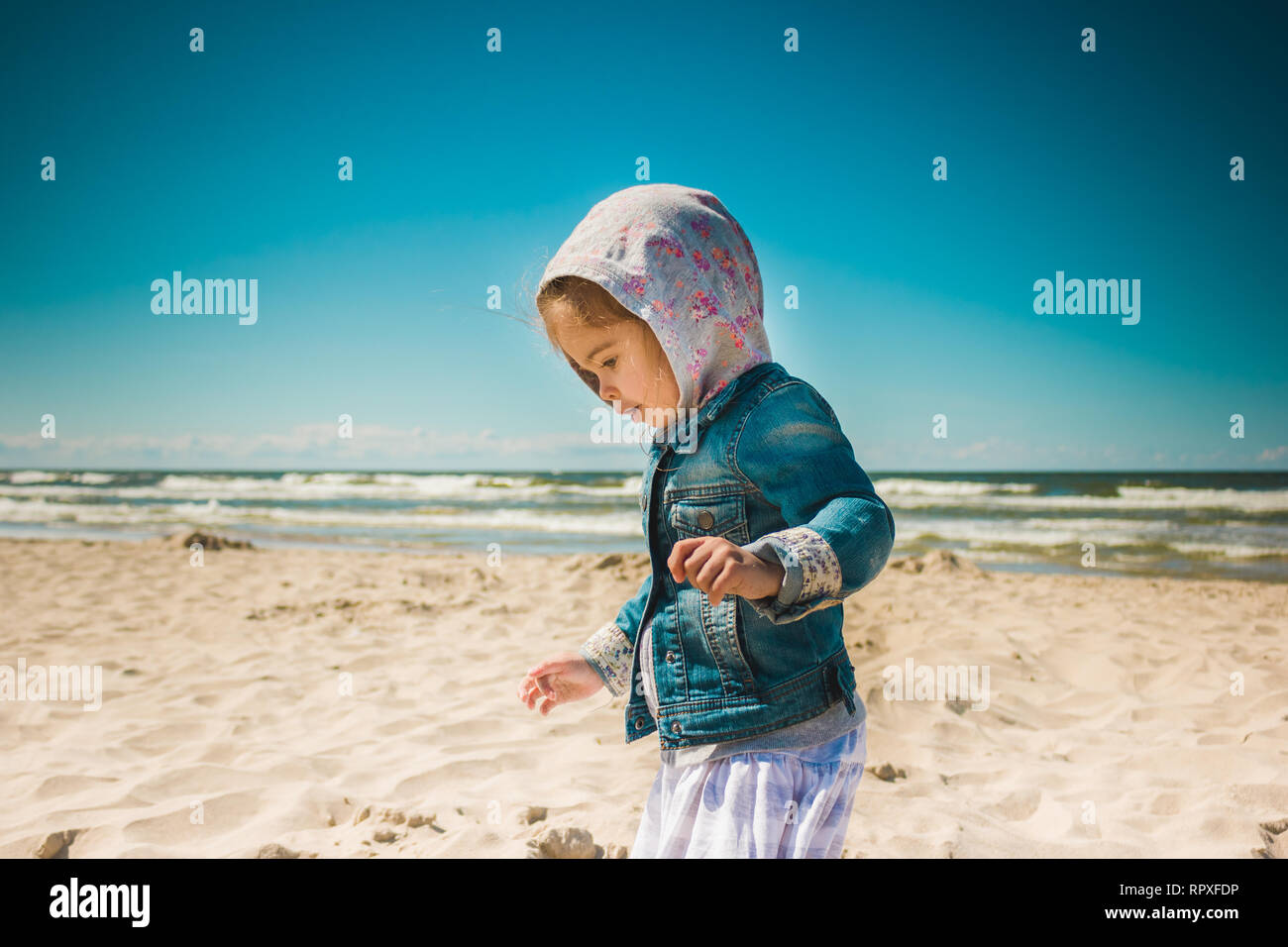 e207fae8ef6 cute little girl standing on the beach on vacation Stock Photo ...