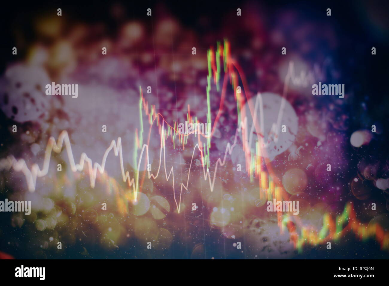 Forex glowing graphs of different colors showing financial market situation on abstract digital background. Stock Photo