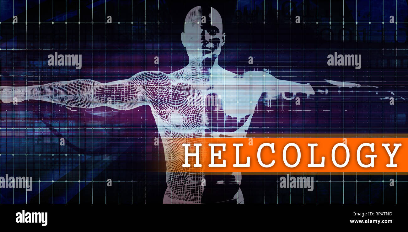 Helcology Medical Industry with Human Body Scan Concept Stock Photo
