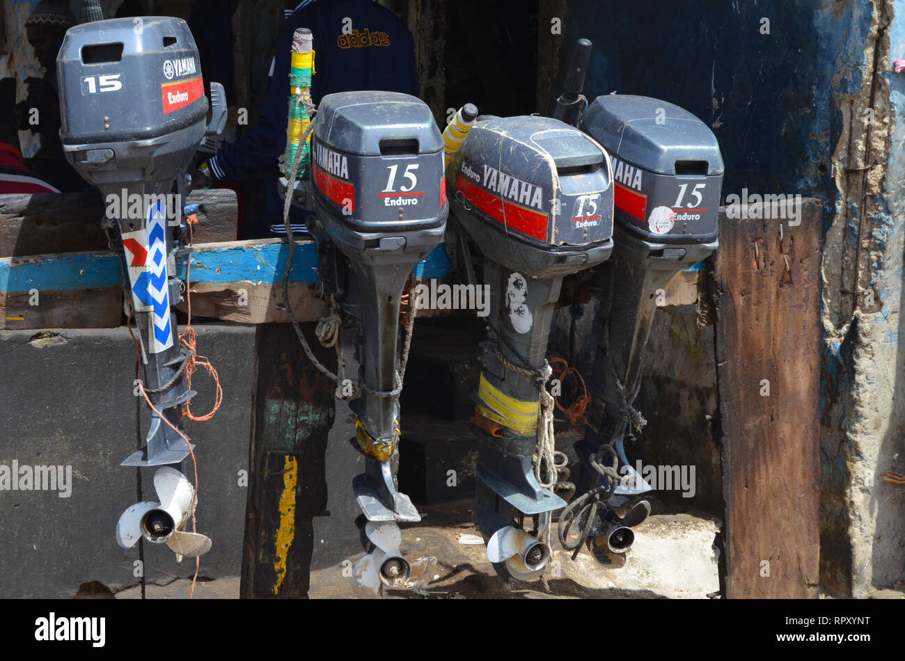 Second-hand boat engines for sale on Mbour market, Senegal Stock