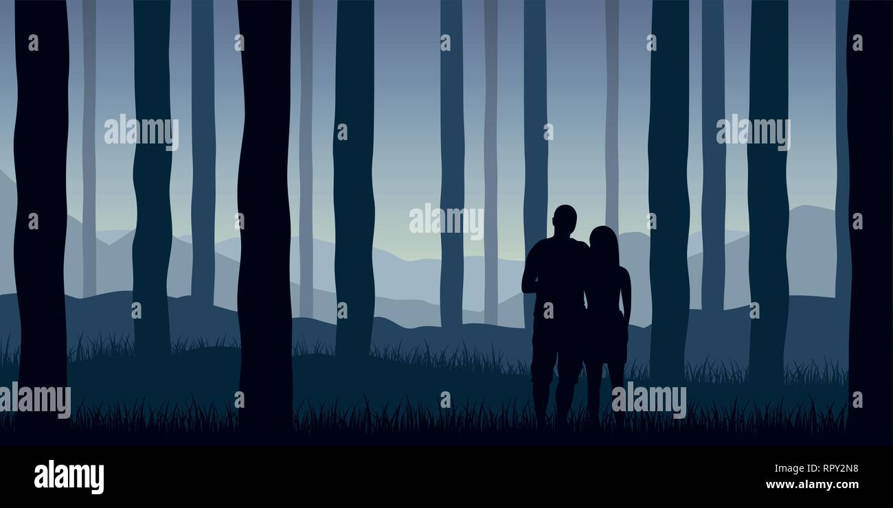 young couple makes a walk in the forest blue nature landscape vector illustration EPS10 - Stock Vector