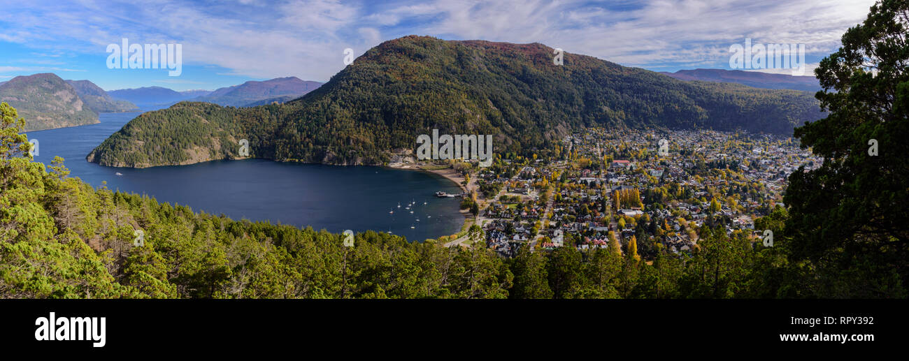 Cityscape view of San Martin de los Andes, Patagonia, Argentina - Stock Image