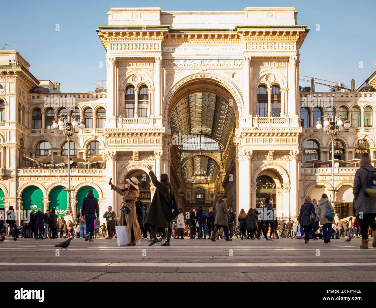 Milan Italy February 13 2019 Turists Making Selfie At