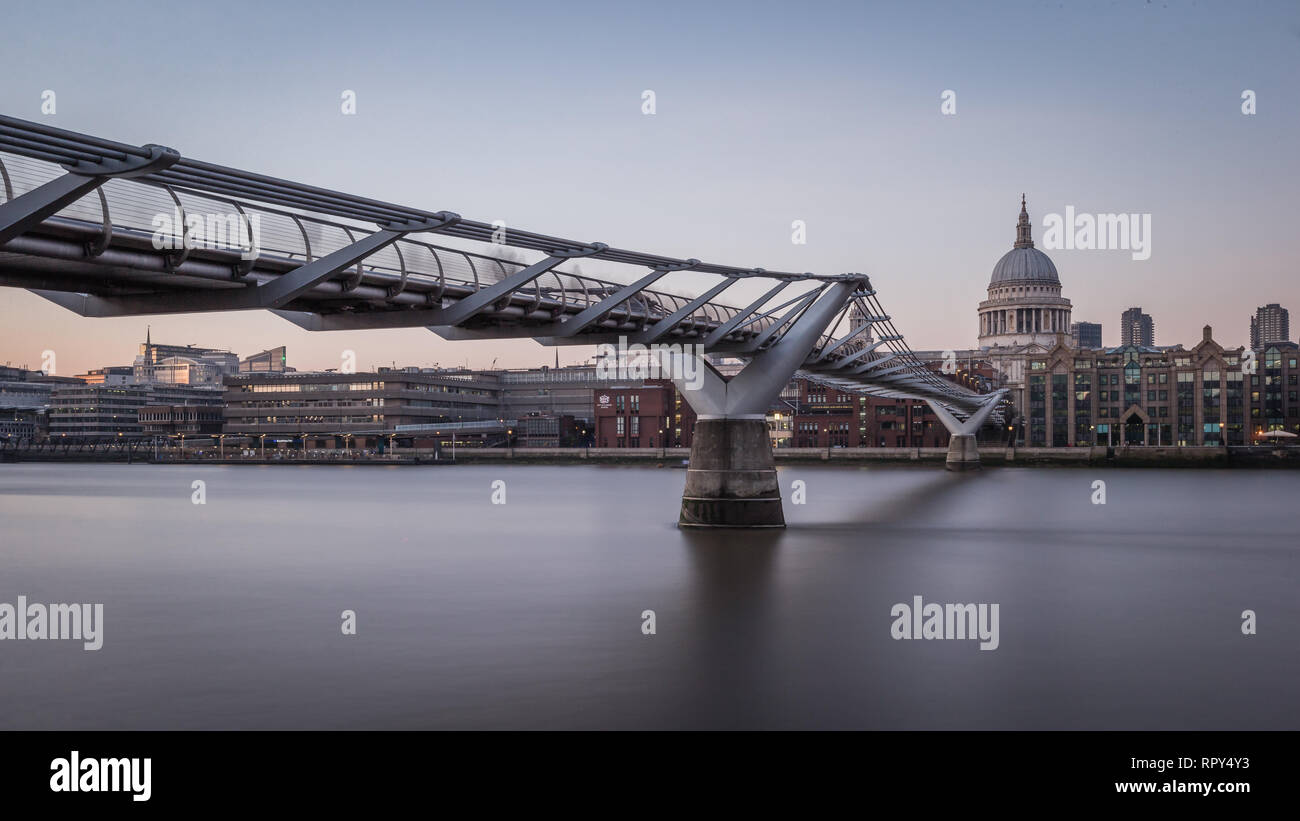 Colour Photograph of Millennium Bridge and St. Paul's Cathedral. - Stock Image