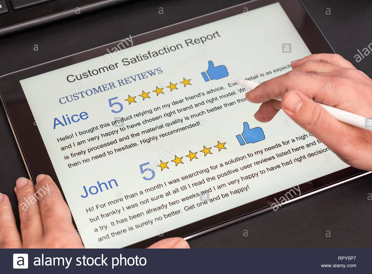 Customer Reviews Attachment to Customer Satisfaction Report on Digital Tablet In Office - Stock Image
