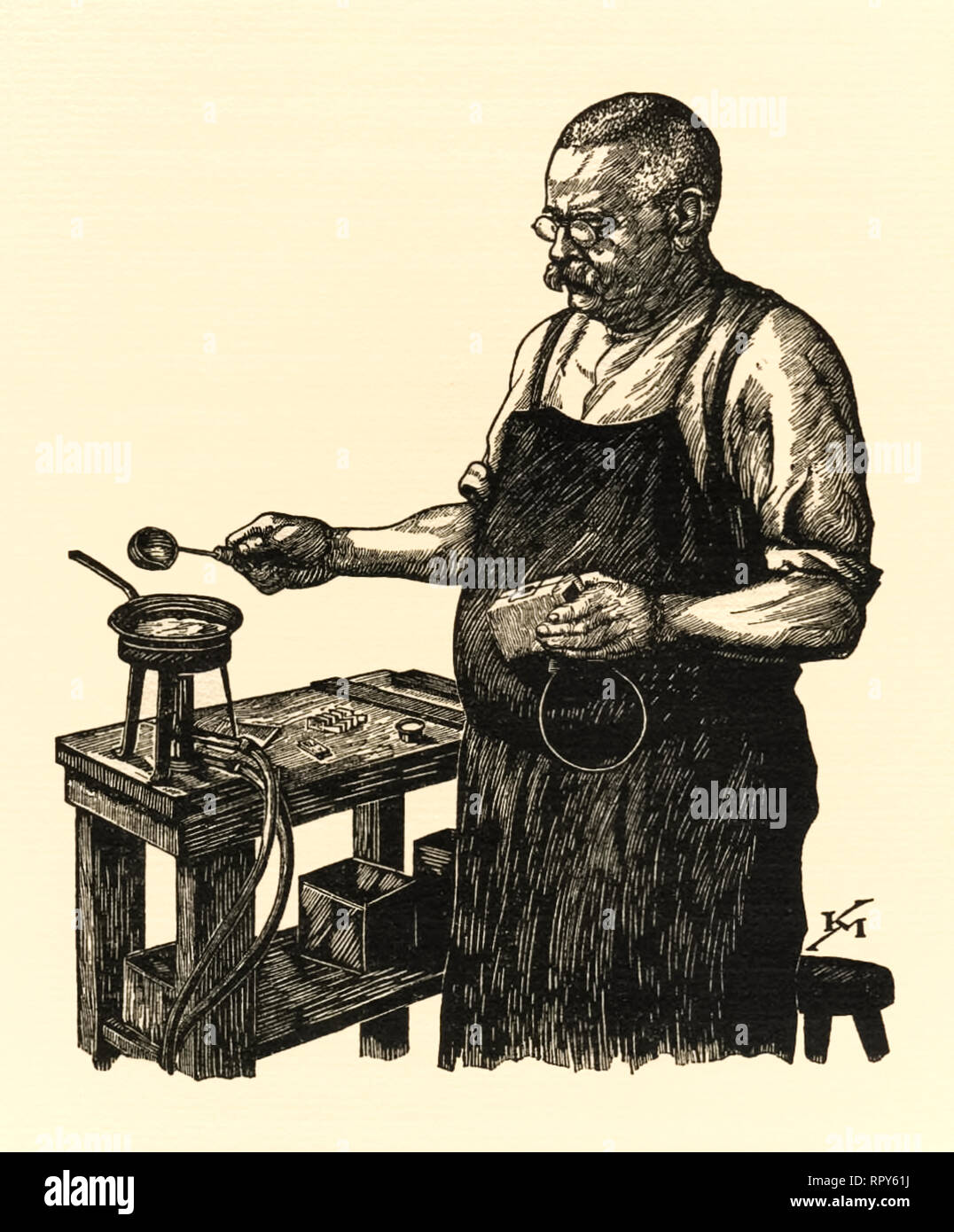 Preparing metal type for use in letterpress printing. Here molten metal is being prepared to be poured into a mold to cast a glymph for use in hand set metal moveable type printing. Woodcut by Karl Mahr (1890-1945). - Stock Image