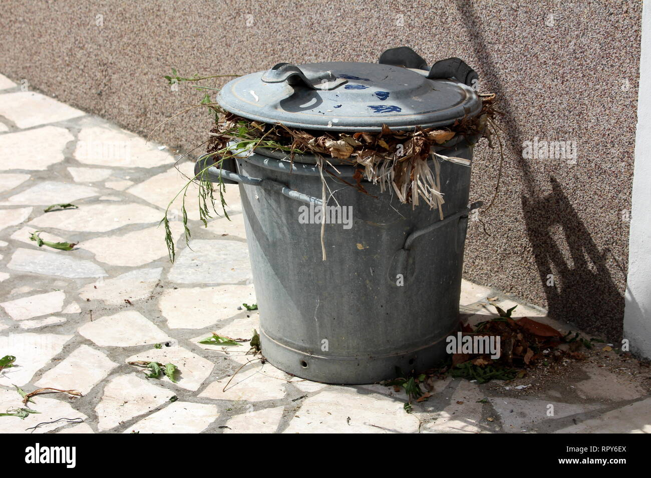 Small grey metal trash can with strong holders on sides full of organic waste from local garden on traditional stone path in front of house wall - Stock Image