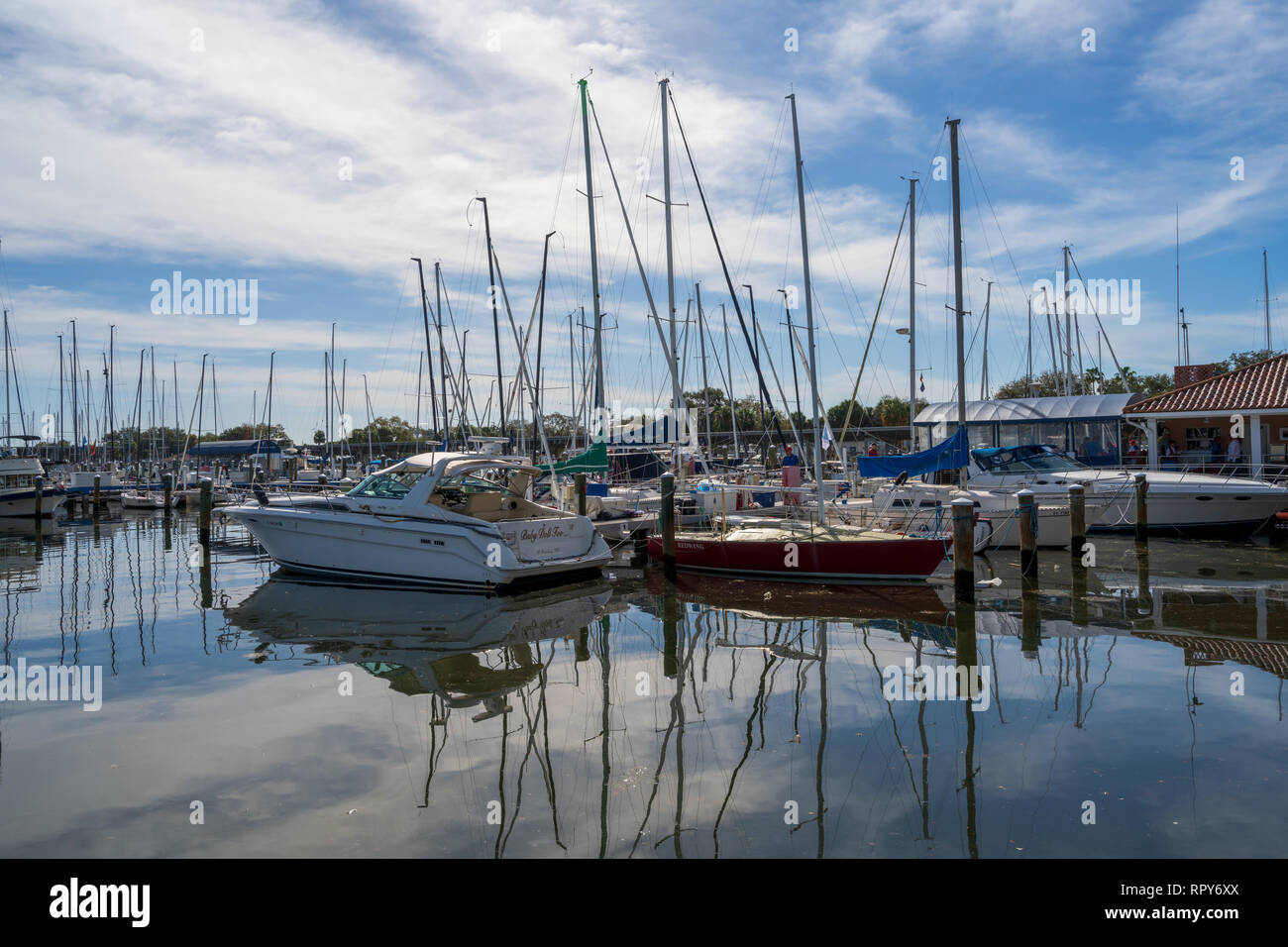 St Petersburg, FL, USA --February 15, 2019.  A marina with parked boats  in St Petersburg on a beautiful February morning. - Stock Image