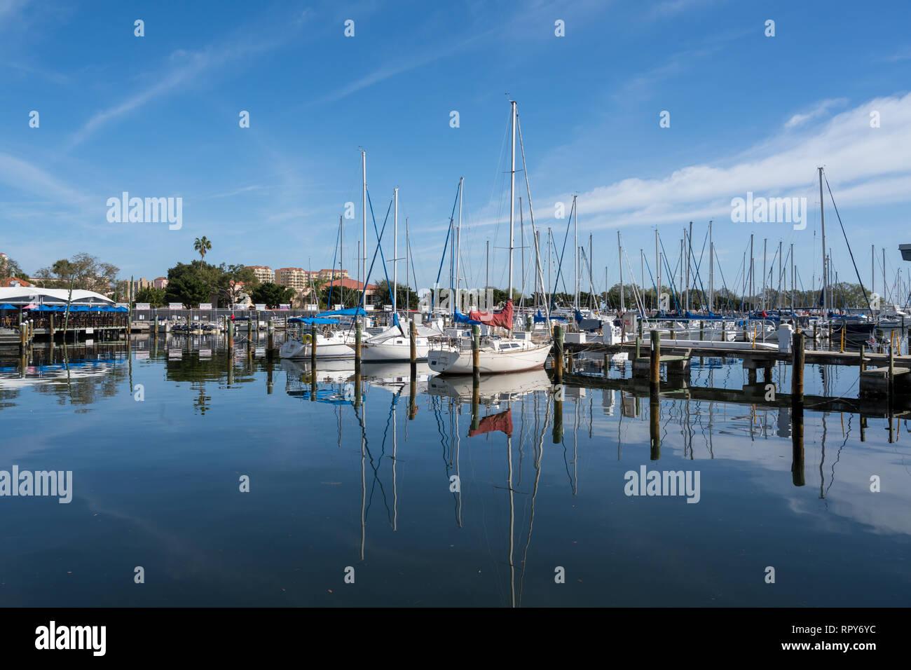 St Petersburg, Florida, USA -- February 15, 2019. Boats anchored at a Florida marina on a February morning. - Stock Image