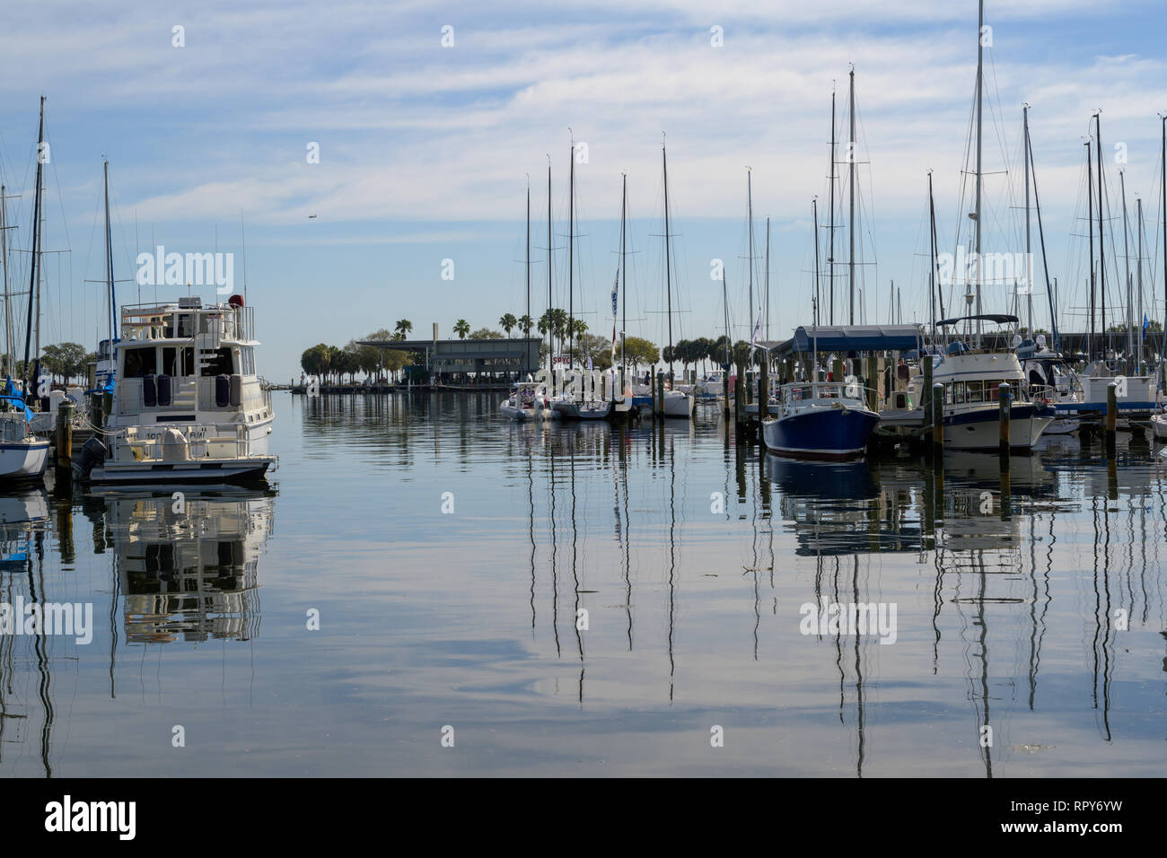 St Petersburg, FL, USA --February 15, 2019.  Boats are moored in a Florida marina on a February morning. - Stock Image