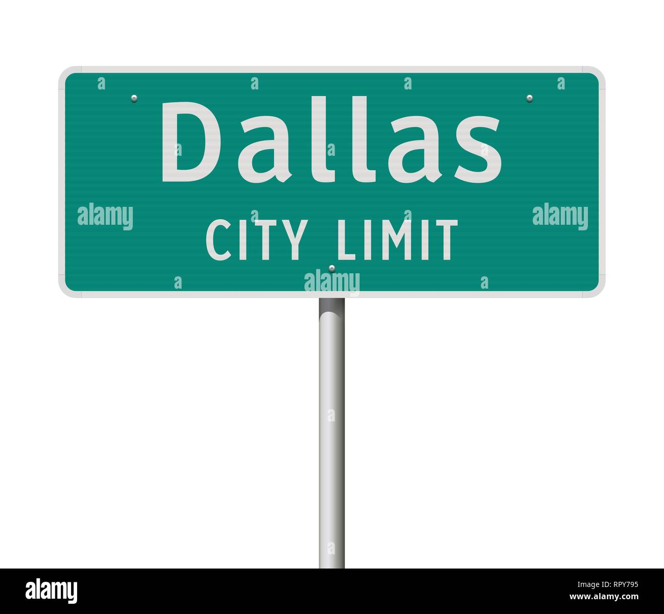 Vector illustration of the Dallas City Limit green road sign Stock Vector