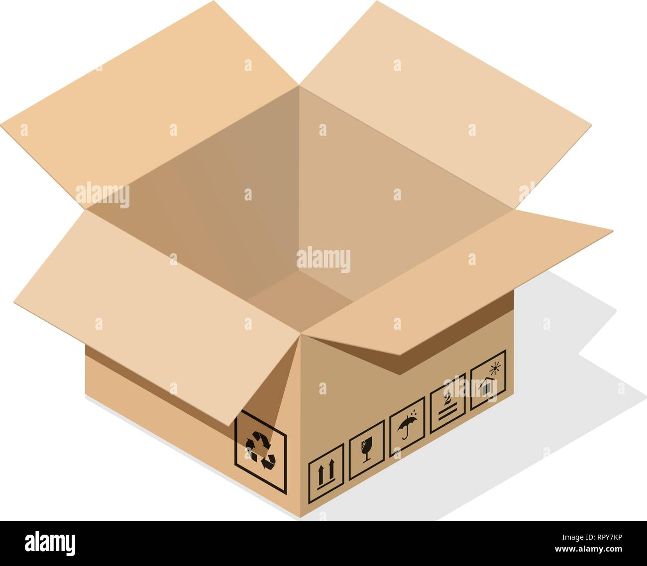 Open 3d cardboard box in isometric style with flat shadow. Plus a set of basic informational signs and packaging and product requirements. EPS10 - Stock Vector