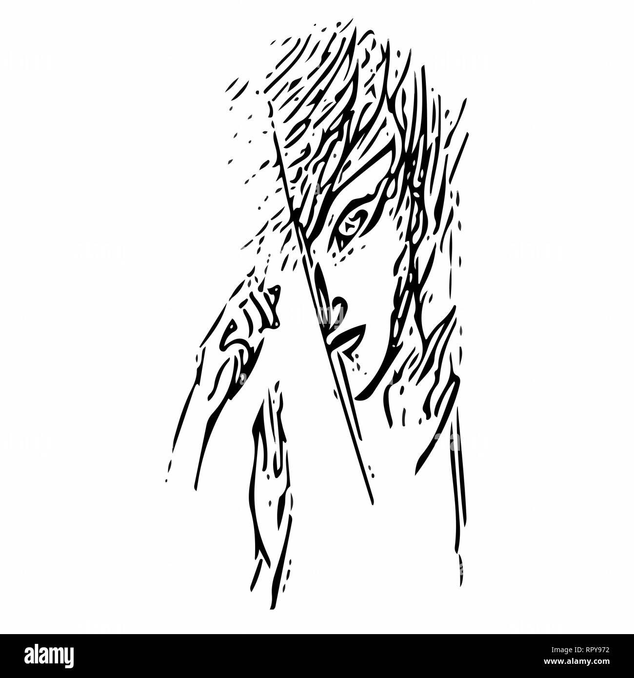 Drawn in vector abstract black and white face looking into the gap anime