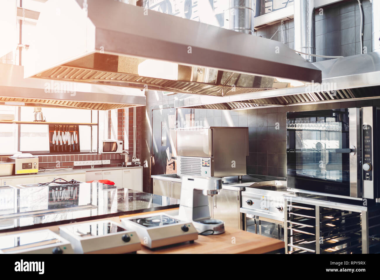 Professional Kitchen Interior Of Restaurant Modern Equipment And Devices Made Of Stainless Steel Empty Kitchen In The Morning Stock Photo Alamy