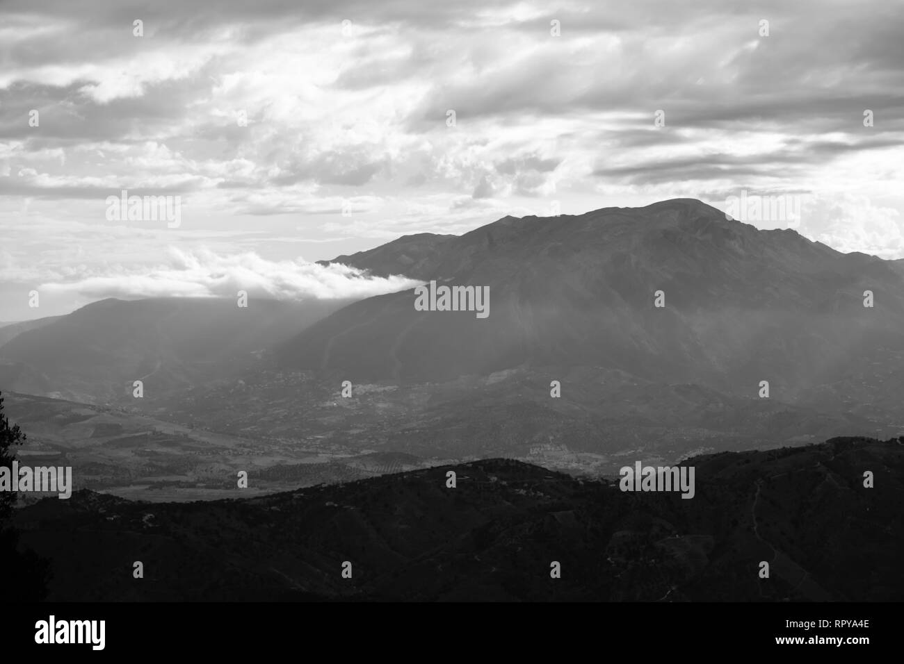 Black and White fine art landscape images of the Axarquia Region of Andalucia, Malaga, Spain - Stock Image