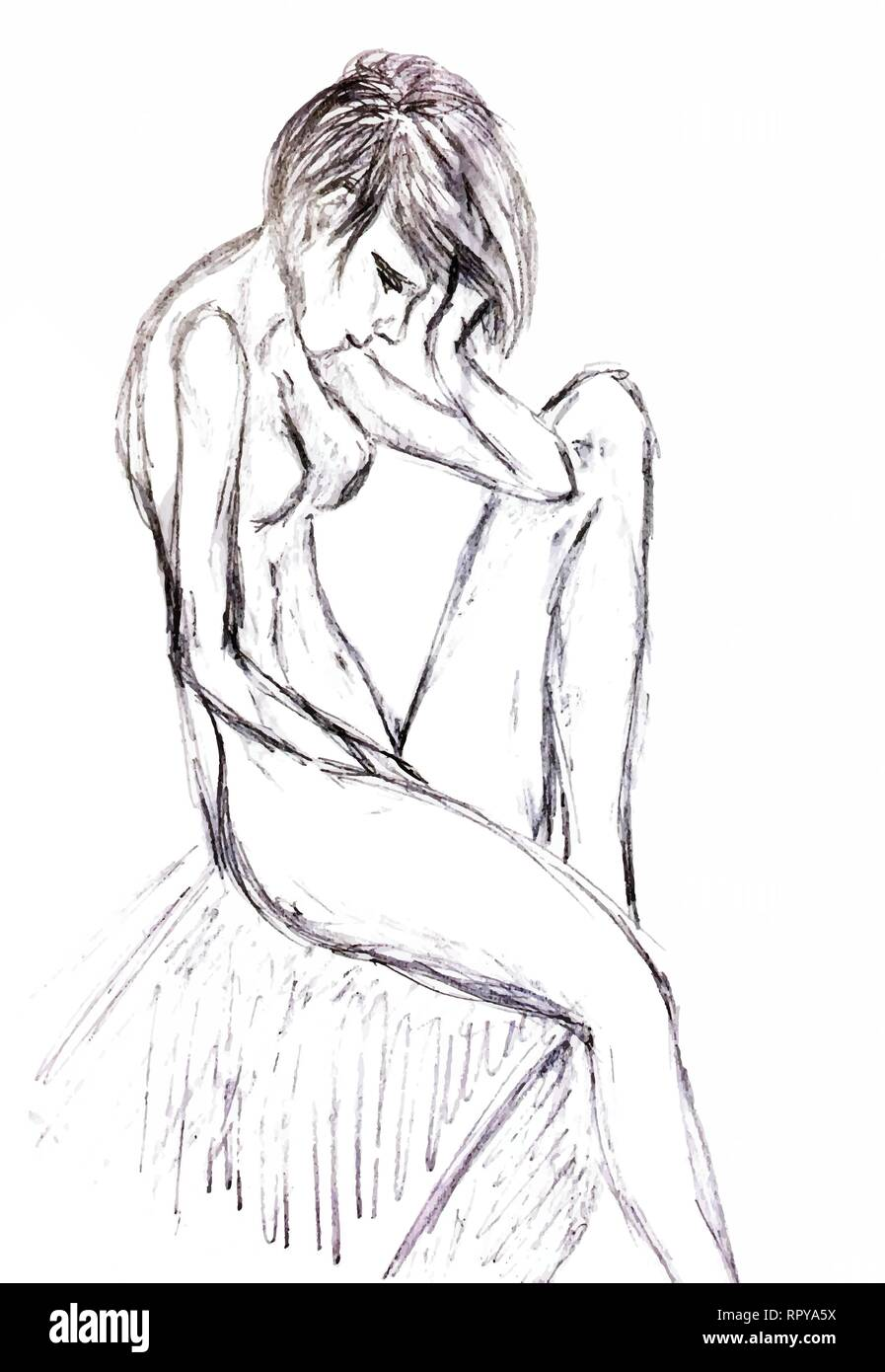 Drawn girl sitting leaning his head on his hand and sad the