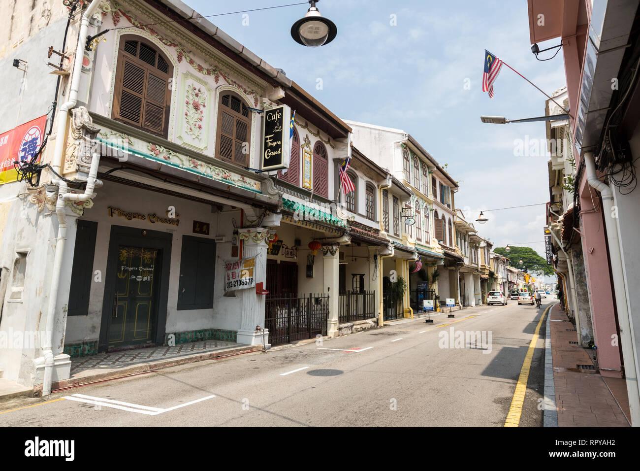 Early Twentieth-century Chinese Shophouse, Heeren Street, Jalan Tun Tan Cheng Lock, Melaka, Malaysia. - Stock Image