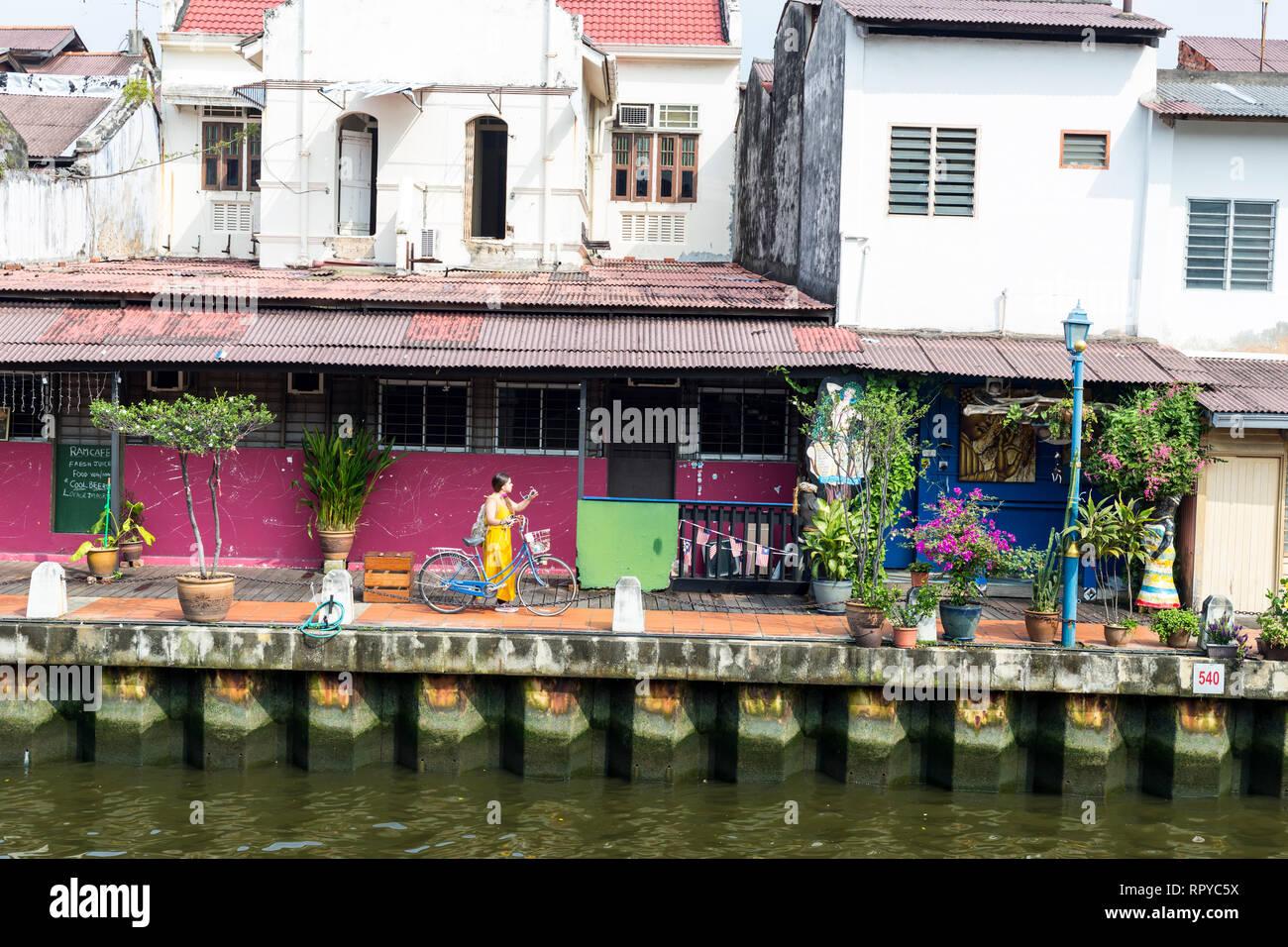 Old Shophouses Line the Riverwalk along the Melaka River, Melaka, Malaysia. - Stock Image