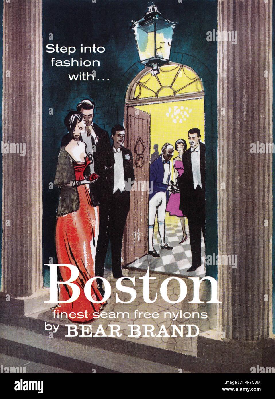 e06fb6071 1959 British advertisement for Boston seam-free nylon stockings by Bear  Brand. - Stock