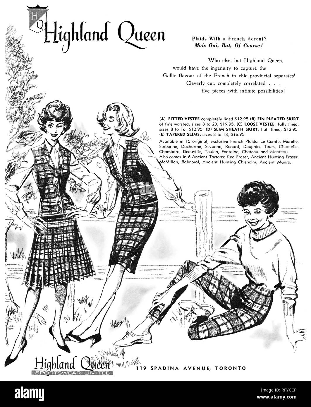 1959 Canadian advertisement for Highland Queen women's fashions. - Stock Image