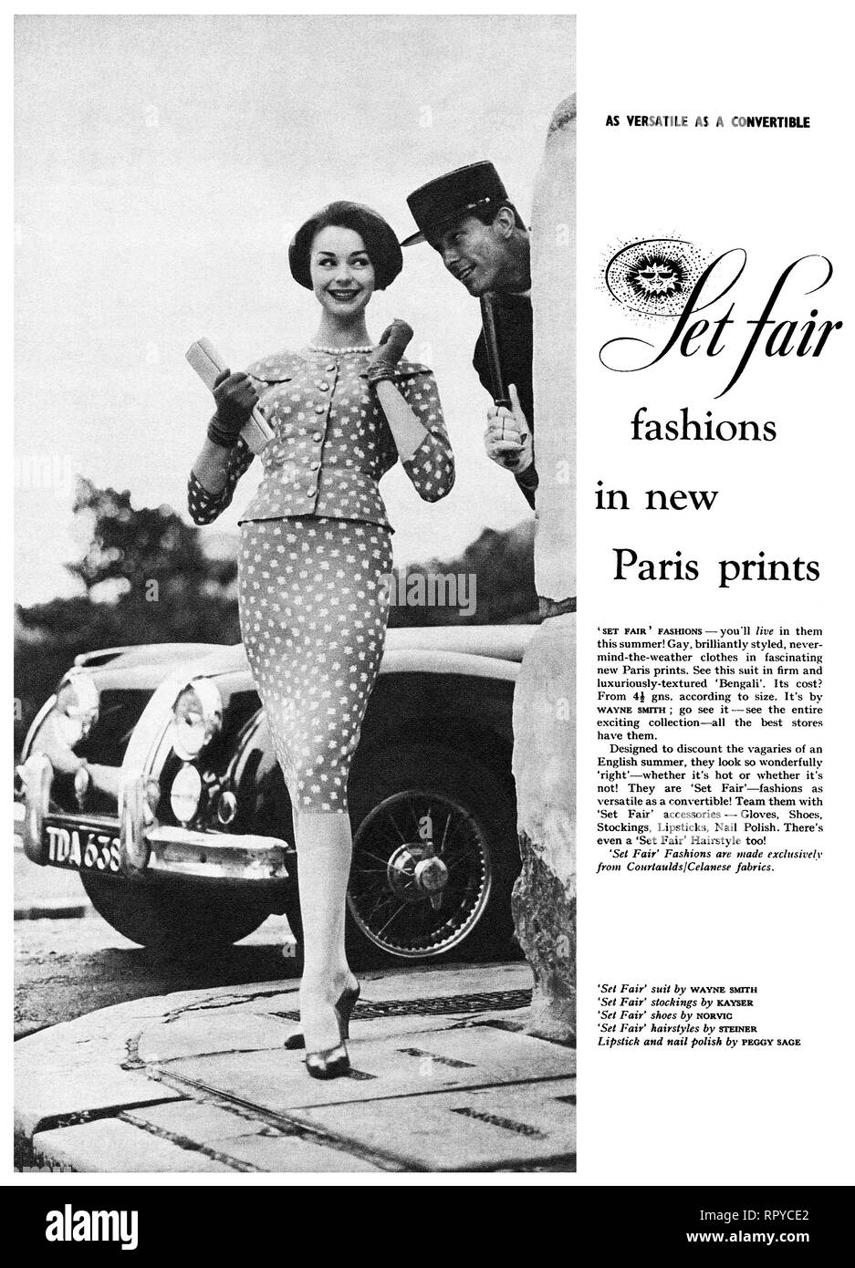 1959 British advertisement for Set Fair women's fashions. - Stock Image