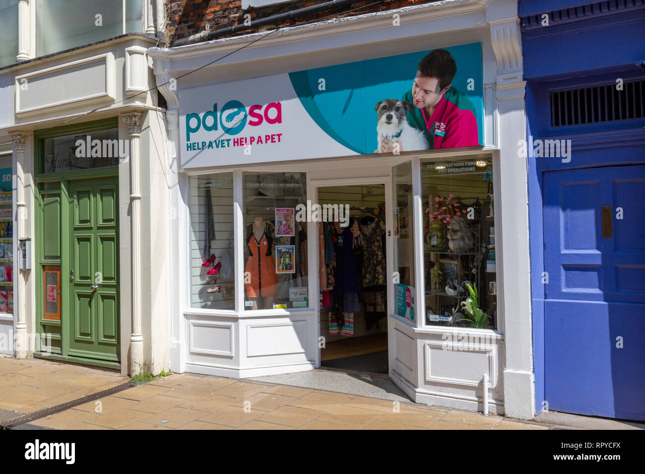 The PDSA (Peoples Dispensary for Sick Animals) charity shop in the City of York, UK. - Stock Image