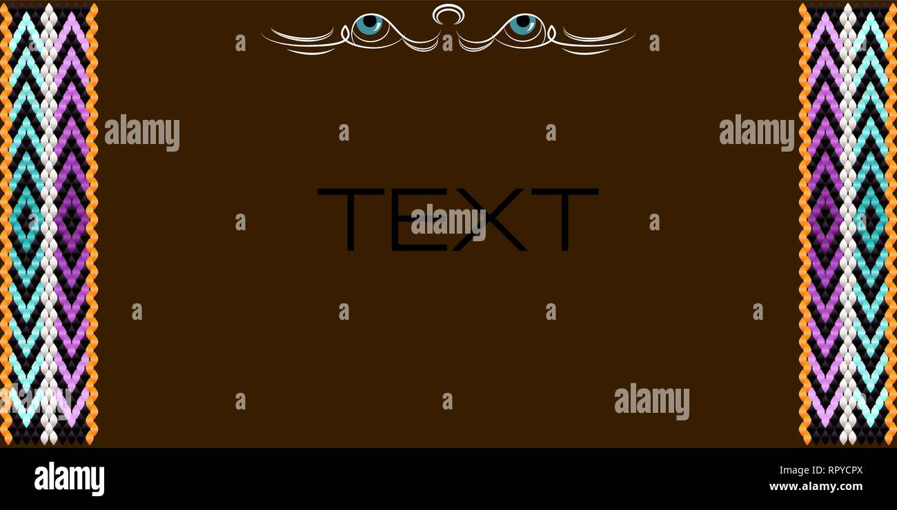 Frame for text with a separator and a pattern on the bedouin fabric Sadu. She draws attention to the important text. - Stock Vector