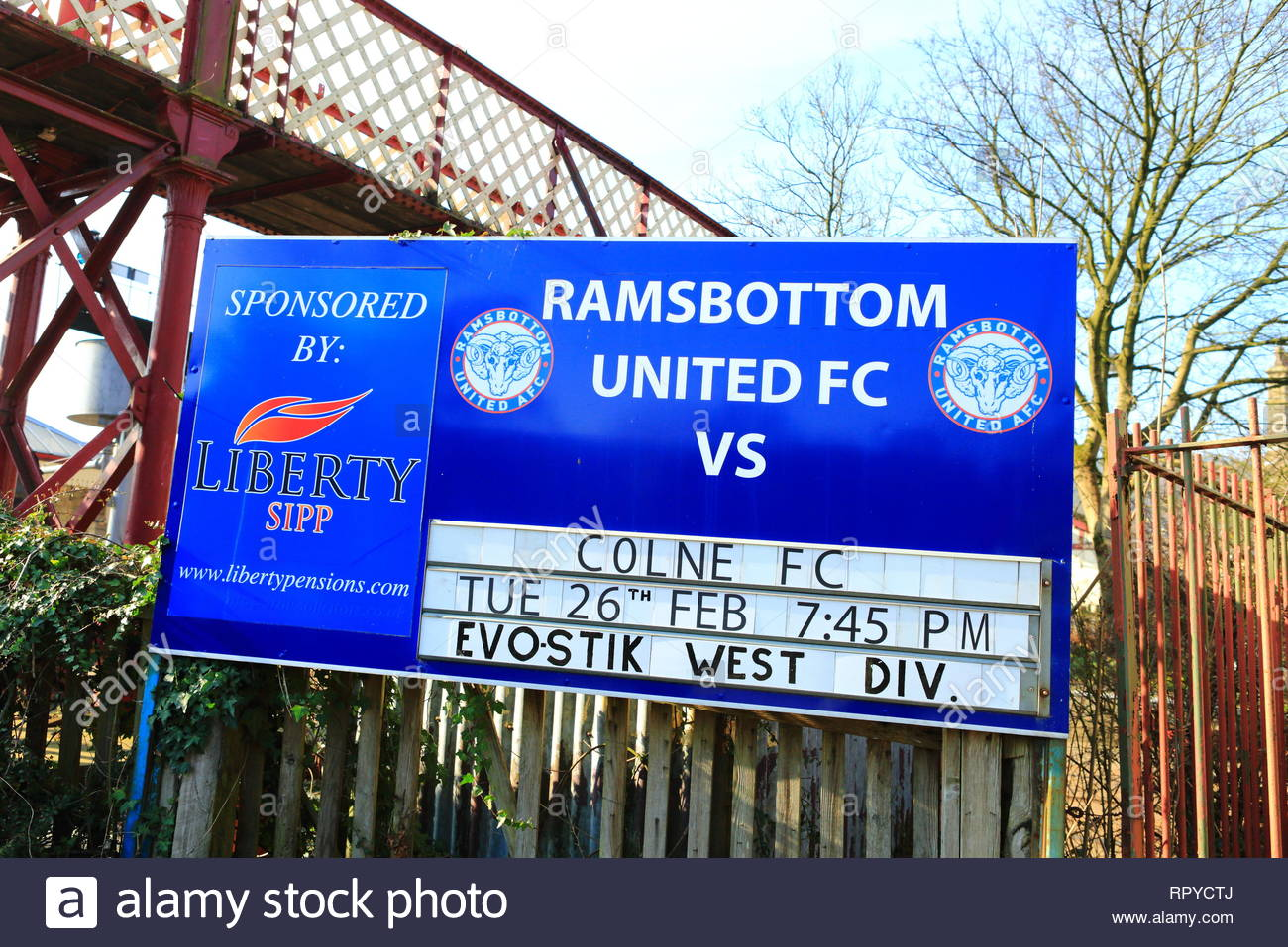 Local Football League Game Fixture Notice At Ramsbottom East Lancashire Railway - Stock Image