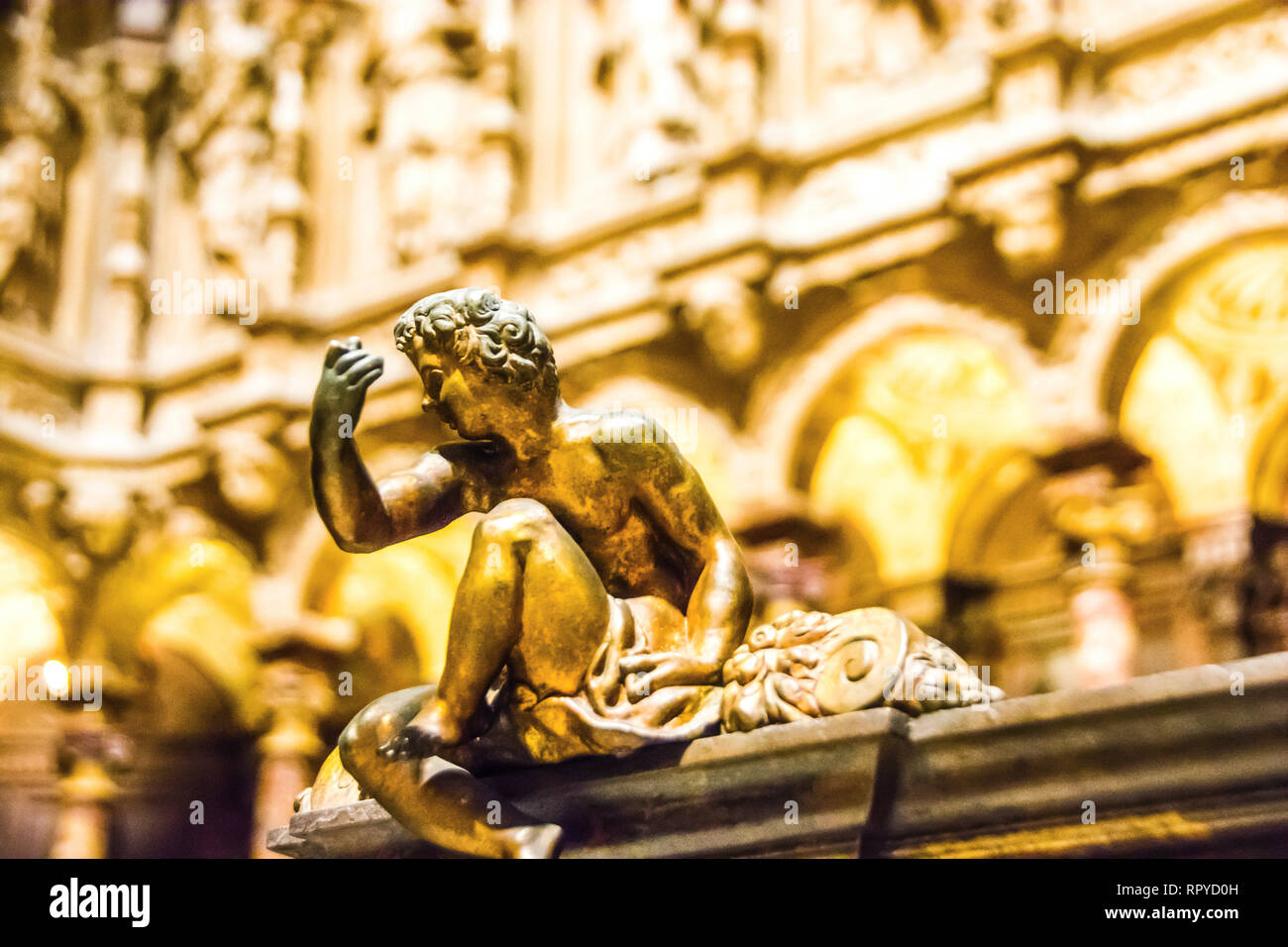 Religious art work guilded in gold; Granada Cathedral, Granada, Spain. - Stock Image
