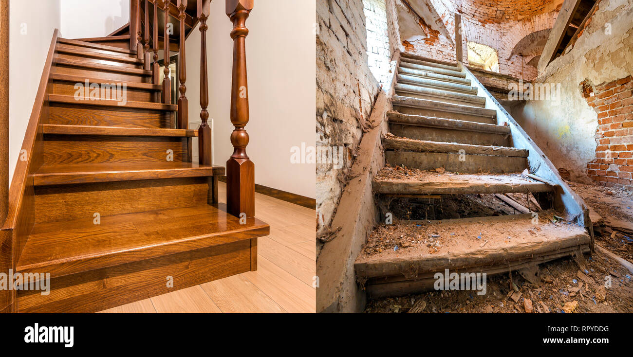 Incroyable Comparison Of Modern Brown Wooden Oak Staircase With Carved ...
