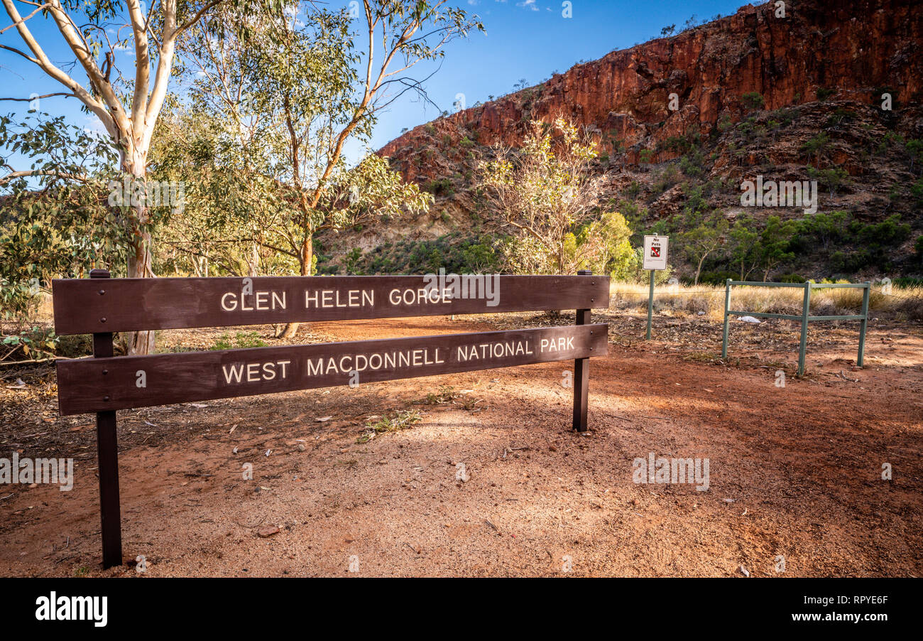 Sign of Glen Helen gorge and West Macdonnell national park in Glen Helen in NT Australia - Stock Image