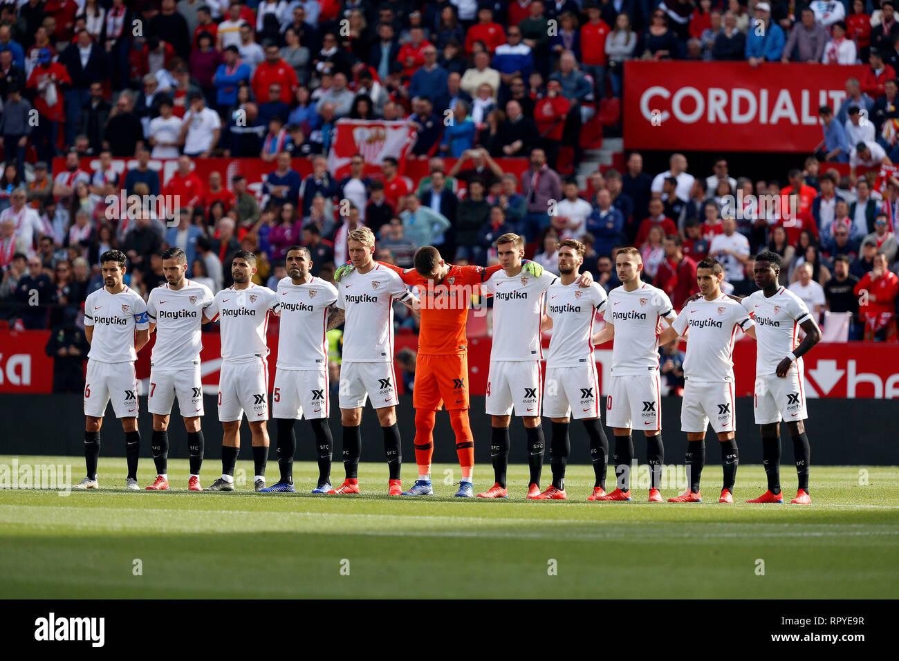 Sevilla FC team seen before the La Liga match between Sevilla FC ...