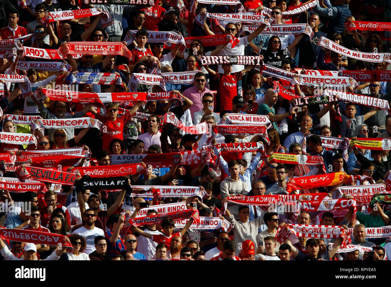 Sevilla FC fans are seen during the La Liga match between Sevilla FC and Futbol Club Barcelona at Estadio Sanchez Pizjuan in Seville, Spain. ( Final score; Sevilla FC 2:4 Futbol Club Barcelona ) - Stock Image