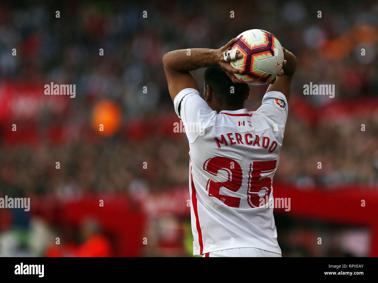 Gabriel Mercado (Sevilla FC) seen in action during the La Liga match between Sevilla FC and Futbol Club Barcelona at Estadio Sanchez in Seville, Spain. ( Final score; Sevilla FC 2:4 Futbol Club Barcelona ) - Stock Image