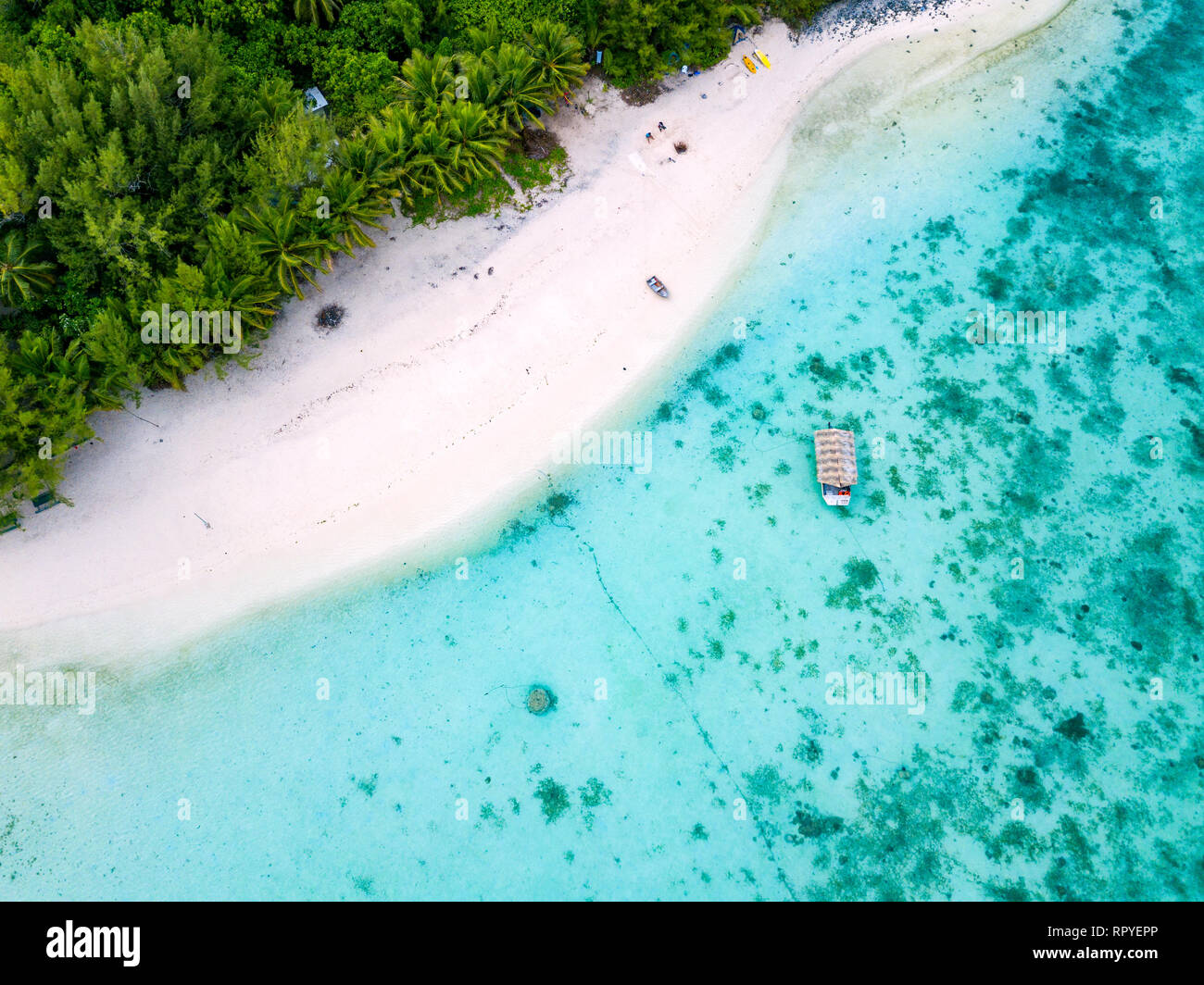 An aerial view of Muri Lagoon on Rarotonga in the Cook Islands - Stock Image