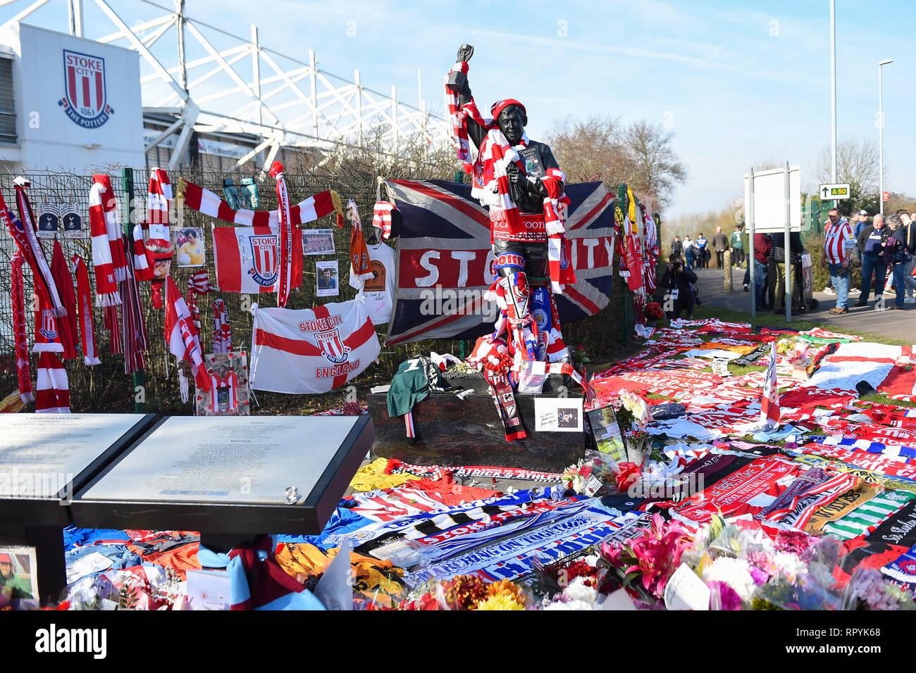 Stoke-on-Trent, Staffordshire, UK. 23rd Feb, 2019. Memorial for Gordon Banks OBE during the Sky Bet Championship match between Stoke City and Aston Villa at the Britannia Stadium, Stoke-on-Trent on Saturday 23rd February 2019. (Credit: Jon Hobley | MI News) Credit: MI News & Sport /Alamy Live News - Stock Image